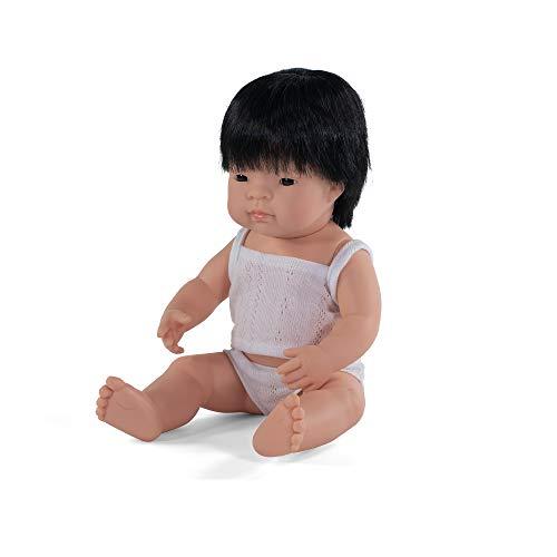 Miniland – Muñeco bebé Asiático Niño de vinilo suave de 38cm con rasgos étnicos y sexuado para el aprendizaje de la diversidad con suave y agradable perfume. Presentado en caja de regalo.
