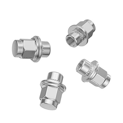 Metric 12x1.5 Threads 1.4 inch Length 4pcs Silver Bulge Lug Nuts Conical Cone Taper Acorn Seat Closed End Installs with 19mm or 3//4 inch Hex Socket