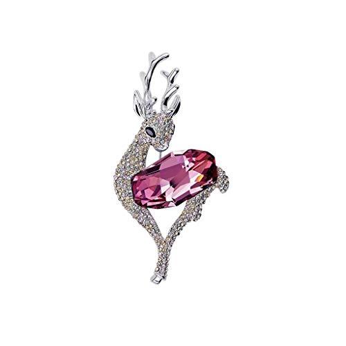 ZYLE Niedliche Hirschbrosche, Kristallelement, mit Geschenkbox, Mädchengeschenk (Color : Pink)