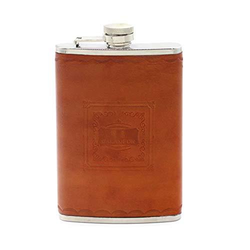 FSJD Petaca Gruesa de Acero Inoxidable de 8 onzas, Jarra de Cuero portátil para Exteriores, exquisitos Utensilios de Vino Vintage para Whisky, Vodka, etc.