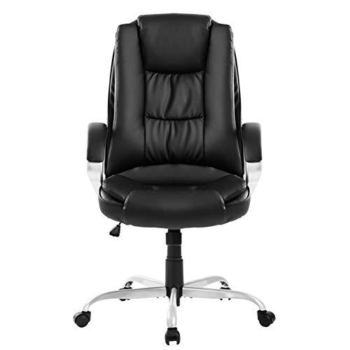 topxingch Silla de oficina, ajustable, giratoria, de lujo, de acero sintético, con soporte trasero, silla de ordenador, color negro