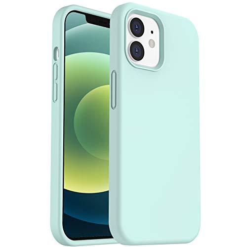 ORNARTO Cover in Silicone Liquido Compatibile con iPhone 12 Custodia 6,1 e iPhone 12 PRO Custodia Protezione in Gomma Gel per Tutto Il Corpo con Fodera in Microfibra 6,1 Pollici Menta Verde
