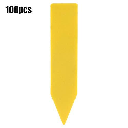 Marcador de etiqueta de planta, etiqueta de plástico para nombre de flor, etiqueta de estaca para plantas suculentas, 100 piezas de PVC, etiquetas de plantas para jardín,(yellow)