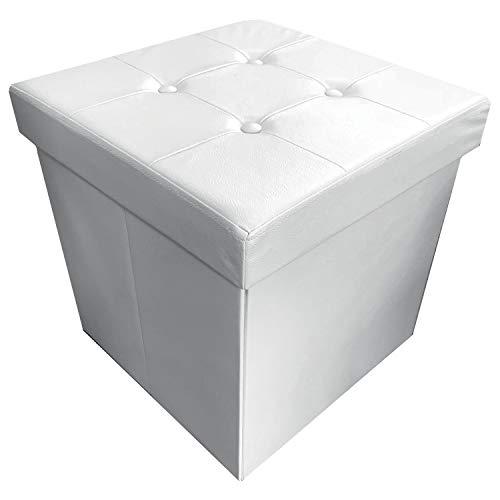 NuvolaNera Pouf Poggiapiedi Sgabello Decorativo con Contenitore in Ecopelle 45x45x45 cm – Grande capienza – Tenuta Fino a 150 kg – Bianco