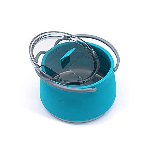 NGLSCXR Olla de cocina portátil de silicona plegable, calentador de agua plegable para acampar al aire libre, para camping, senderismo o viajes con base de acero inoxidable para vacaciones