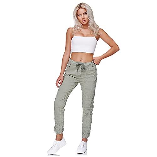 Gloop Pantaloni da donna Boyfriend Jogger Pants 7/8 Capri Pants Made in Italy, Verde militare, XL/3XL