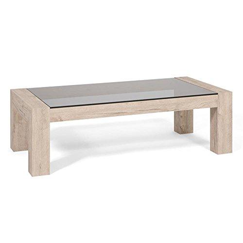 Mobili Fiver, Table Basse, Plateau en Verre trempé, Iacopo, Chêne Naturel, 100 x 50 x 30 cm, Mélaminé/Verre, Made in Italy