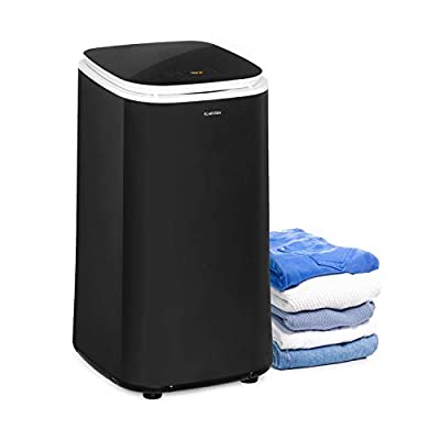 Klarstein Zap Dry Clothes Dryer - Power: 820 W, Capacity: 50 L, UniqueDry Design, Small Footprint, Stainless Steel Drum, Plastic Housing, Touch Control Panel, Cover Made of Safety Glass, Black