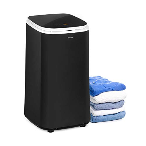 Klarstein Zap Dry Wäschetrockner, 820 W, Kapazität: 50 L, UniqueDry Design, geringer Platzbedarf, Edelstahl-Trommel, Kunststoffgehäuse, Touch-Bedienfeld, Deckel aus Sicherheitsglas, schwarz