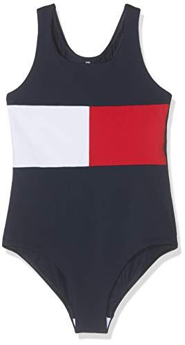 Tommy Hilfiger Mädchen Bügelloser Badeanzug SWIMSUIT UG0UG00101, Gr. 140 (Herstellergröße: 10-12), Blau (Navy Blazer 416)