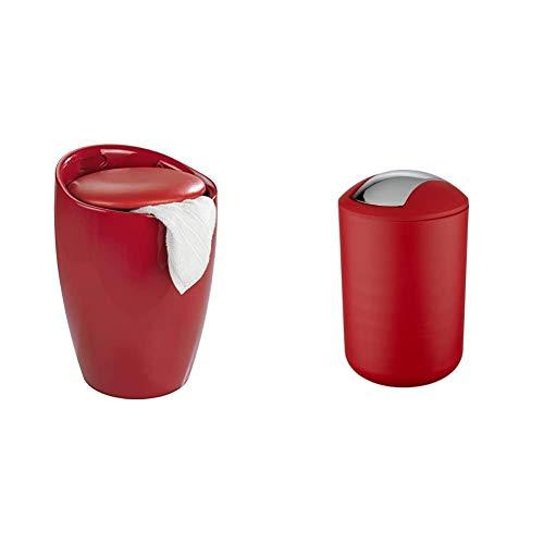 WENKO Badhocker Candy Rot, Hocker mit Stauraum, Fassungsvermögen 20 L, Ø 36 x 50,5 cm & 21217100 Schwingdeckeleimer Brasil Rot L - Fassungsvermögen 6.5 L, 19.5 x 31 x 19.5 cm