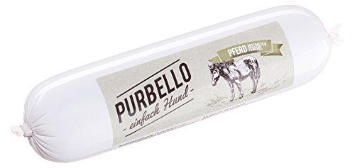 PURBELLO Hundewurst Pferd - 8 x 400 g - Monoprotein Hundefutter mit hohem Fleischanteil - Nassfutter für Hunde - Schnittfest & Getreidefrei (3,2 gk)