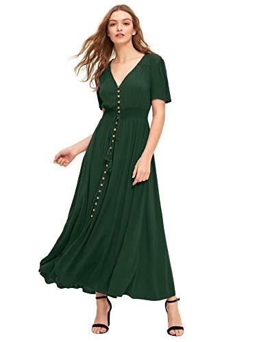 Milumia Women's Button Up Split Flowy Short Sleeve Plain A Line Party Maxi Dress Green Small