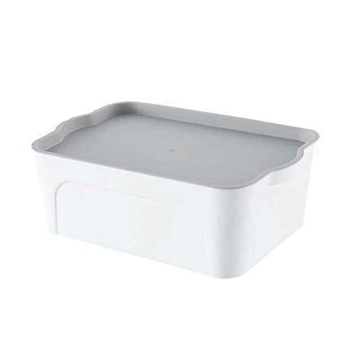 Donfhfey827 Schreibtisch-Aufbewahrungsbox, Kunststoff, Aufbewahrungsbox für Kleidung, Snacks, Spielzeug, Textil plastik, weiß, 39.5 * 26 * 15cm