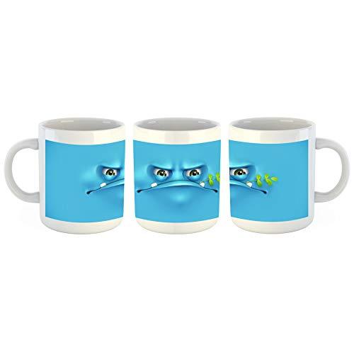Unified Distribution Blaues Grummel Gesicht - Tasse mit Motiv Bedruckt, 300ml C-Henkel. Tolles Geschenk für Büro, Küche, Geburtstag, Lieblingstasse zum Frühstück