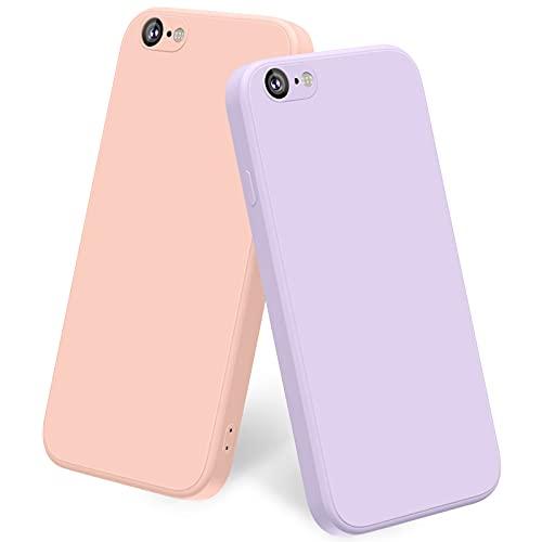 Yisica [2 Pezzi] Cover per iPhone 6 / iPhone 6s Custodia Silicone Liquido Ultra Sottile, TPU Cover Protettiva Completa Antiurto con Fodera in Microfibra Anti-Graffio (Rosa + Viola Erba)