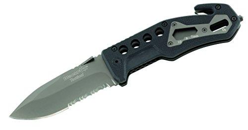 Blackfox Erwachsene Einhand-Rettungsmesser, Stahl 440, Teilsägezahnung, beschichtet, Schlagdorn, Gurtschneider, G10-Griffschalen, Mehrfarbig, One Size