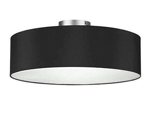 Runde Zeitlose Deckenleuchte mit Stoffschirm in Schwarz Ø 40cm - satinierte Abdeckung für blendfreies Lichtambiente