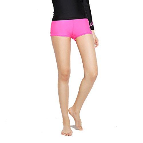 emansmoer Femme Slim Fit Élastique été Casual Plage Shorts Troncs de Bain Respirant Sport Fitness Surf Plongée Pantalon Court (Large, Rose605)