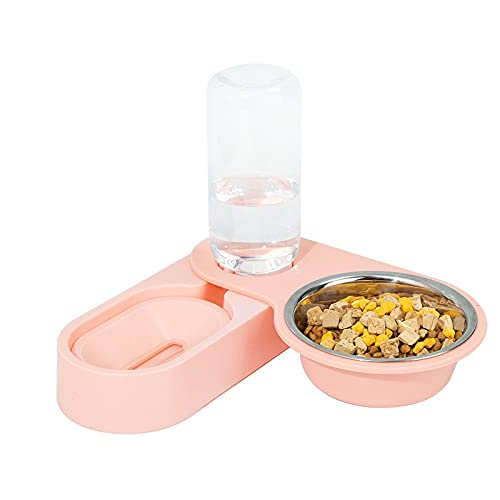 LANHUAN Pet Doppia Ciotola in Acciaio Inox Cat Ciotola Rotante Angolo Pieghevole Cane Ciotola Gatto Automatico Acqua stoccaggio Alimentatore Cibo Ciotola (Color : Pink)