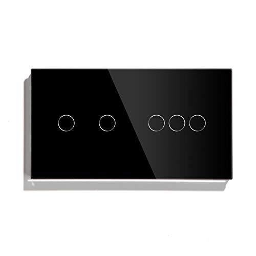 KEXQKN Interruptor de luz táctil, Toque Interruptor 2 Gang con 3 pandillas Sensor táctil estándar Negro Blanco Dorado 3 Colores con Panel de Vidrio Mejoras para el hogar para casa