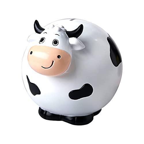 Hucha de vaca para niños, bonita hucha de resina para ganado con gran capacidad, caja para ahorrar monedas, decoración creativa de vaca de pie para adultos ( Color : Blanco , Size : 23.5×18.5×19cm )