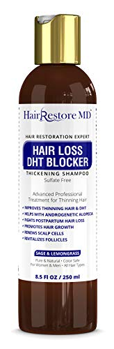 Hair LOSS DHT BLOCKER SHAMPOO'Sage & Lemongrass', Biotin Hair Growth Volumizing Thickening Caffeine Shampoo, Hair Loss Thinning Hair, Regrowth Thickening Products for Men & Women, Sulfate Free