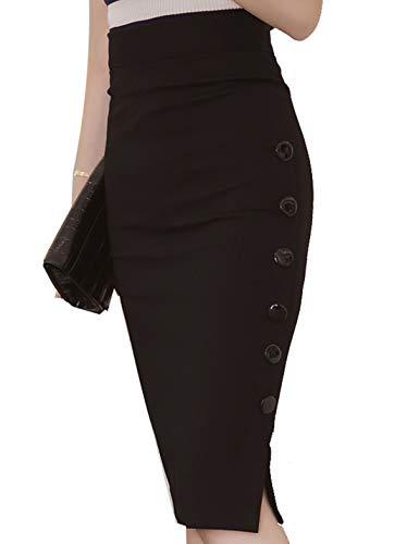 Falda Tubo De Cintura Alta para Mujer Negro M