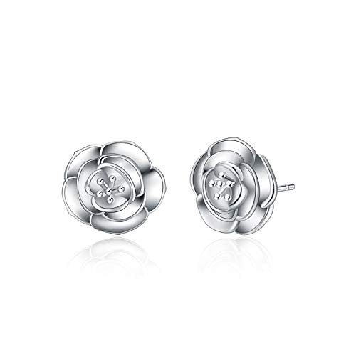 Flower Stud Earrings Sterling Silver Hypoallergenic Camellia Earring Jewelry Birthday Gift For Women Girls