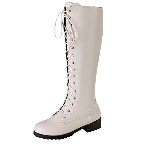 BIGTREE Damen Reitstiefel Gefüttert Knee High Crisscross Schnürung Winter Biker Boots Mode Stiefeletten Hohe Stiefel mit Absatz Weiß 35 EU