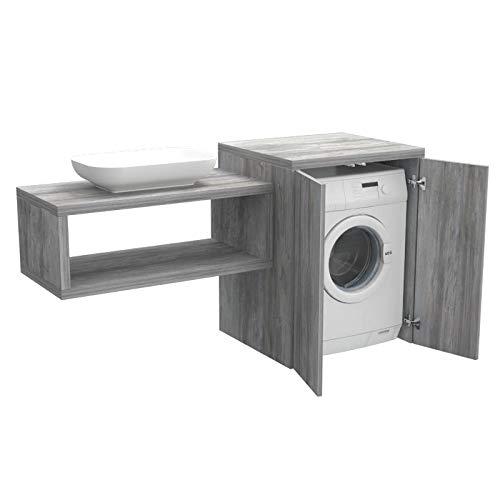 Ve.Ca. Mobile bagno coprilavatrice Stoccolma con ante, in legno, mensola lavabo + copri lavatrice/asciugatrice + lavabo, diversi colori, lavanderia bagno (Pino grigio Jackson)