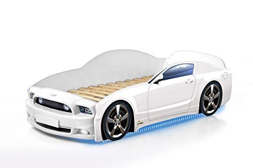 Kinderbett Babybett Jugendbett Autobett Bett 5 FARBEN Mustang PLUS FULL 184,5/74 cm (weiß) + Matratze
