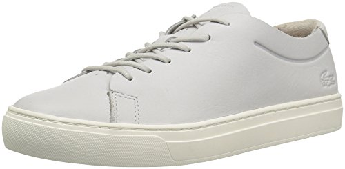 Lacoste Women's L.12.12 Unlined Sneakers,Light Grey/Off White leather,6.5 M US