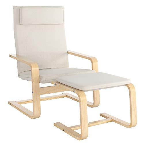 Homfa Relaxsessel mit Fußstütze Sessel Schaukelstuhl Schwingsessel Relaxstuhl Belastbarkeit 150 KG Weiß für Wohnzimmer Stuhl Kinderzimmersessel Birkenholz 66.5x69x96.5cm