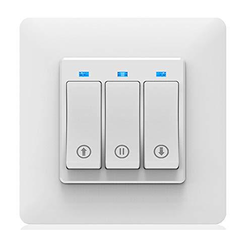 ALLOMN Inteligente Wifi Interruptor de Cortina, Interruptor de Persiana Enrollable Eléctrica Trabaja con Alexa/Google Home, Control Remoto por Voz Función de Tiempo Botón Mecánico, Smart Life/Tuya APP