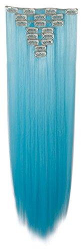 S-noilite® Teile Set Clip in Extensions 66cm Haarverlängerung Haarteil Glatt Helles Blau