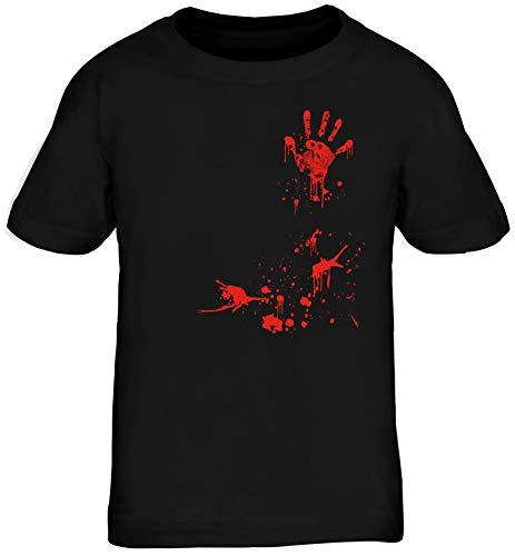 Zombie Partner Gruppen Kinder T-Shirt Rundhals Mädchen Jungen Bloody Halloween, Größe: 152/164,schwarz