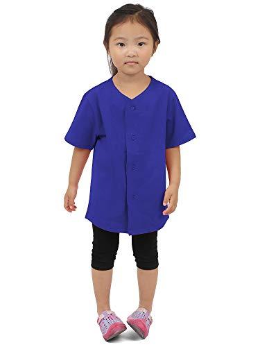 Hat and Beyond Kids Baseball Button Down Jersey Uniform Plain (Small, 5KSA02_Royal Blue)