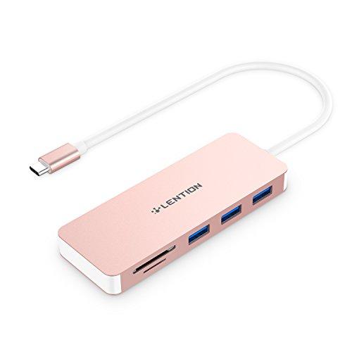 lention USB-C Hub mit Typ C, USB3.0 Anschlüsse und SD/Micro SD Kartenleser für 2020-2016 MacBook Pro 13/15/16, Neues Mac Air/iPad Pro/Surface, ChromeBook, More, Multiport Type C Adapter (Roségold)
