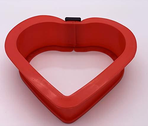 Berger Import Herz Silikon Back Form 20x17x7cm Silikon Springform Kastenform Kuchenform Backform Auflaufform Herz mit Glasboden rot