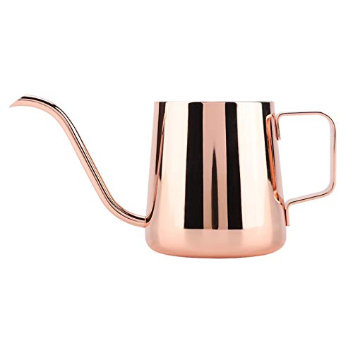 Hervidor de café de acero inoxidable-350 ml Cuello de cisne de acero inoxidable Vierta sobre goteo Cafetera Té Taza de café Olla(rosa dorado)