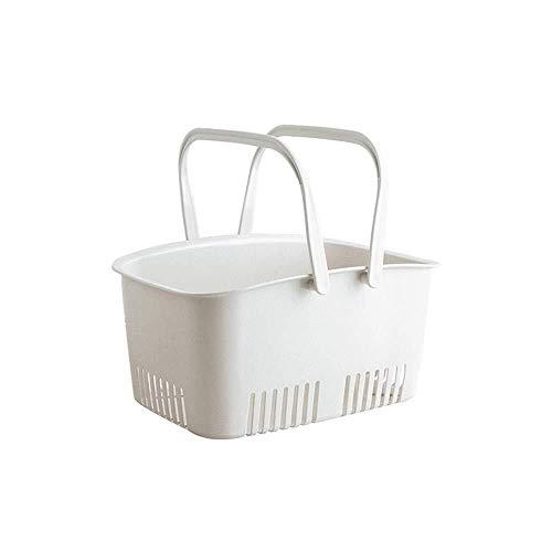 Tazón de cerámica Drenaje cesta de frutas cesta de almacenamiento portátil baño de ducha cestas de regalo cestas de almacenamiento de plástico cesto de la ropa de baño de balde ( Color : White )