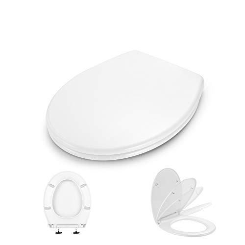 Sedile WC, Dalmo DBTS07TY Copriwater Universali O Forma, Tavoletta WC con Paracolpi...