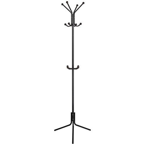 Homfa Kleiderständer stabil Garderobenständer aus Metall Standgarderobe Jackenständer für Flur Büro Kleiderhaken Garderobe mit 12 Haken 174cm Höhe