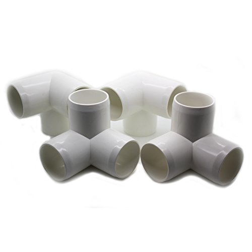 """3 Way Tee PVC Fitting - Build Heavy Duty PVC Furniture - Grade SCH 40 PVC 1"""" Elbow Fittings - For One Inch Size Pipe - White [4 Pack]"""