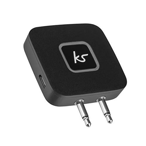KitSound Bluetooth draadloze airline adapter Bluetooth vliegtuig-adapter. Bluetooth Flugzeug Adapter zwart