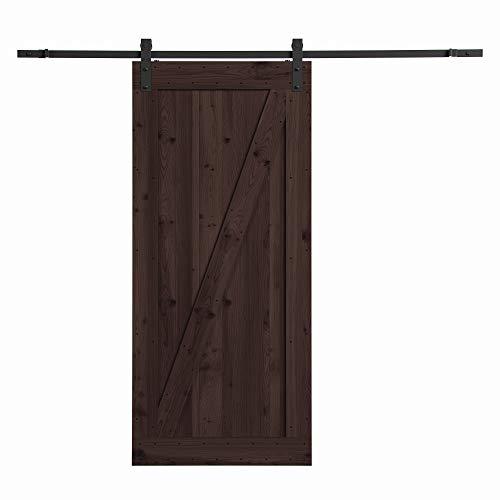 of sliding doors northbeam Smoke Distressed Finish Farm Style Sliding Door Kit with Mounting Hardware