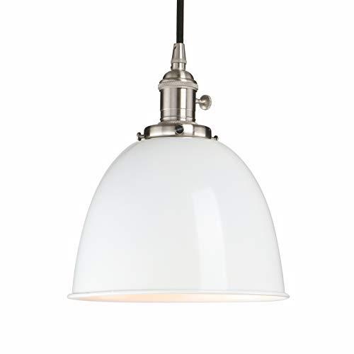 Phansthy innen Modernes Deckenhalbkreis mit Metall-Schirm Pendelleuchte Hängeleuchte Vintage Hängelampen Hängeleuchte Pendelleuchten Loft-Pendelleuchte im Landstil (Weiß)