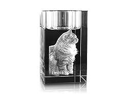 VIP-LASER 2D Gravur Glas Kristall Teelichthalter Teelicht Halter mit Deinem Katzenfoto Katze graviert. Dein Wunschfoto für die Ewigkeit Mitten in Glas!