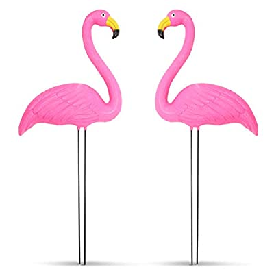 Juvale Pink Flamingo Yard Ornaments for Home and Lawn Decor (22 Inches, 2-Pack)
